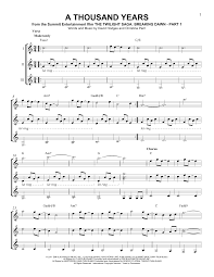 A Thousand Years Sheet Music A Thousand Years Sheet Music Christina Perri Guitar Ensemble
