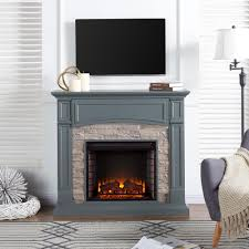 w electric media fireplace in gray