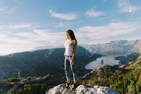 beautiful woman relax in mountains on vacations monte kotor stock photo 105515457