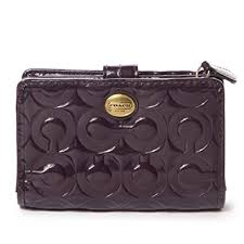 Coach Peyton Embossed Patent Leather Medium Wallet Purple