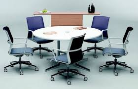 circular meeting table with wire management