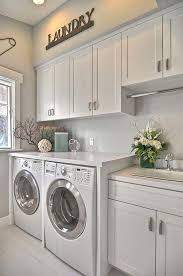 A laundry room with white wall shelves, base cabinets with doors or drawers  and a