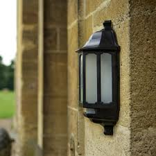asd hi lo coach led half lantern outdoor wall light with dusk to dawn and pir sensor black lyco