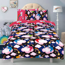 unicorn believe in your dreams black reversible pink rotary single bed duvet quilt cover set 5060543350869
