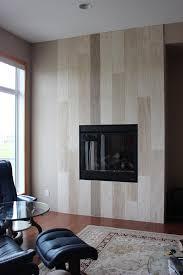 beige vein cut plank fireplace wall