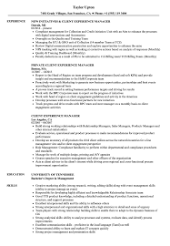 Experience Resume Client Experience Manager Resume Samples Velvet Jobs 11