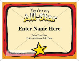 Name A Star Certificate Template Magnificent Kid Certificate All Star Certificate Award Certificate Etsy
