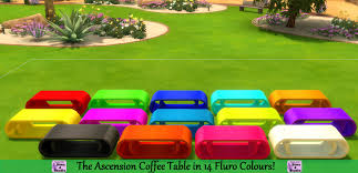 Bright Colored Coffee Tables Mod The Sims The Ascension Coffee Table In 14 Fluro Colours