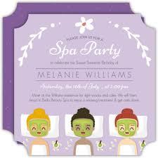 Spa Party Invitations Spa Day Invites Purpletrail