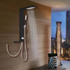 Aluminium Duschpaneel Duschsäule Regendusche Und Handbrause Schwarz Sanlingo