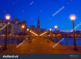 Blue Light In San Francisco Sky San Francisco Cityscape Night Pier 7 Stock Photo Edit Now