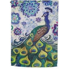 Watercolor Peacock Garden Flag Evergreen Flag: Flagsrus.org