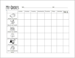 Free Printable Chore Chart For 4 Year Old Free Printable Chore Chart For Early Elementary Kids
