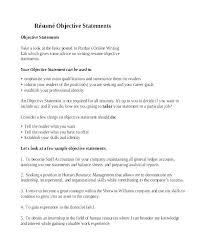 Resume Objective Statement Example Dovoz
