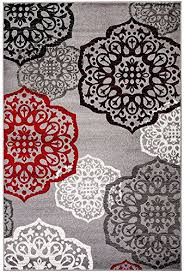 new summit elite s 53 moroccan madallions gray white black red modern abstract area rug