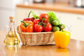 kitchen table with food. Healthy Food Fresh Vegetables In Basket And Bottle With Oil On The Table | Stock Photo Colourbox Kitchen T