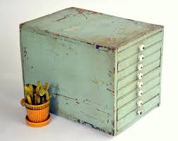 Green File Cabinet Rustic Homemade Wooden Organizer Cabinet Antique Pastel Green 8