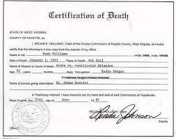 Hank Williams Death Cirtificate Saving Country Music