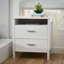 Modern Nightstand Bedside Table In Larch White Wash Woodgrain Finish