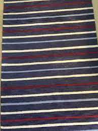 pottery barn kids sawyer stripe rug 5x8 navy