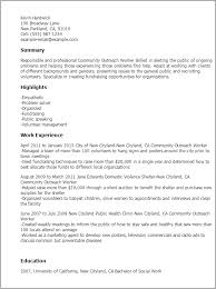Resume Templates: Community Outreach Worker