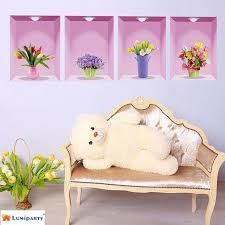 lumiparty flower vase removable 3d vinyl wall sticker home decor wall decals 30 wall stickers
