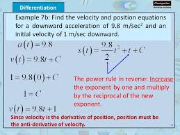 example 7b find the velocity and position equations for a downward acceleration of 9 8 m