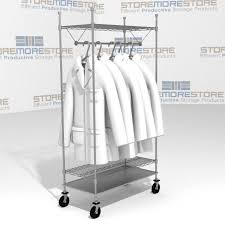 Lab Coat Rack Mobile Racks Hanging Uniforms Garments Coats Wire Shelving Carts SMS 21