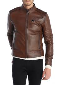sir raymond tailor touch leather jacket in chestnut