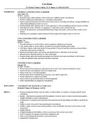 General Labor Resume Templates Sample Examples Laborer Objective