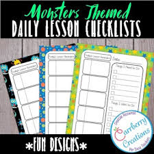 Daily Checklist Planner Editable Lesson Planner Daily Checklist With Monsters By Carrberry