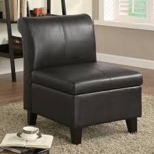 Leather Accent Chair With Ottoman Black Armless Leather Accent Chair With Storage And Wooden Leg For