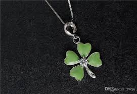 whole euramerican style 925 sterling silver necklace exquisite craft green drop glaze zircon lucky clover classic chain diamond pendants single diamond