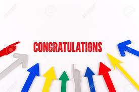word of congratulations colorful arrows showing to center with a word congratulations stock