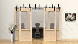 diyhd 10ft byp sliding barn door track kit for 4 barn doors 10ft basic