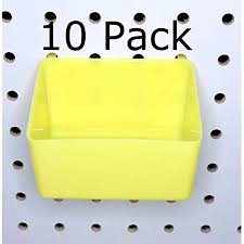 Pegboard storage bins Bin Cabinet Peg Board Yellow Plastic Part Bins Hooks To Peg Tool Board Workbench Pegboard Holder 10 Pack Walmartcom Walmart Peg Board Yellow Plastic Part Bins Hooks To Peg Tool Board