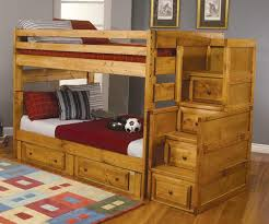 wrangle hill full over full bunk bed with built in ladder