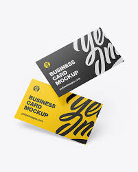 Business Cards Mockup In Stationery Mockups On Yellow Images Object Mockups