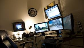 home office computer workstation. Amazing Home Office Computer Desk Setup By Justin Griswold. Using 4 Monitors Plus A Spare Monitor On The Wall, Set Up Focuses Getting Maximum Screen Workstation F