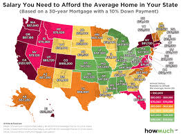 Figure Out Mortgage Payment How Much Income You Need To Afford The Average Home In Every State