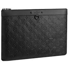 louis vuitton pochette discovery monogram shadow leather black clutch bag men new