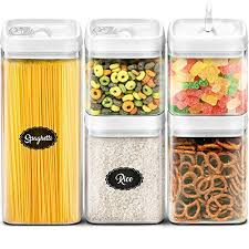 dry food storage containers. Airtight Storage Containers Set - Best Kitchen Dry Food With Lids Clear Plastic BPA Free Cereal C