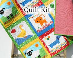 View Baby Quilt Kits by KBlandfordFabrics on Etsy & Quilt Kit Gender Neutral Remix Zoologie Dogs Cats Dachshund Fox Boy Girl  Animals Anne Kelle Cheater Adamdwight.com