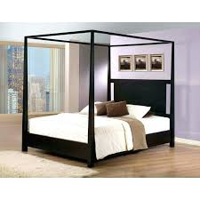 Black Wood Canopy Bed Wooden With Rectangle Headboard Having White ...