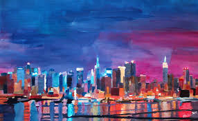 new york city shimmering silhouette painting new york city shimmering silhouette fine art