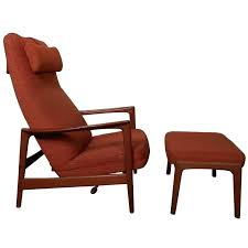 high back chair with ottoman vintage reclining chair w ottoman by at vintage reclining chair w
