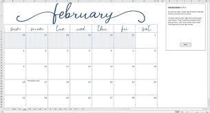 Elegante Mensile Calendario 2020 Modello Di Excel Etsy