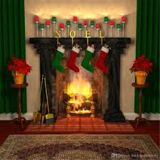 indoor fireplace photo backdrops fond photographie noel printed gift stockings green curtain home party booth background 10x10ft vinyl