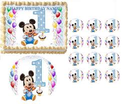 Baby Mickey Mouse Edible Cake Decorations Baby Mickey Mouse First Birthday Edible Cake Topper Frosting Sheet