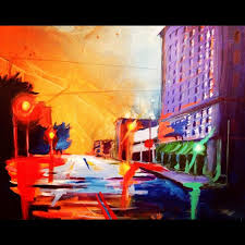 downtown san angelo painting on large canvas